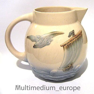 Digoin Sarreguemines Jugendstil Keramik Krug Schiff Möve Pitcher Ceramic Jug Jar Hohe Belastbarkeit