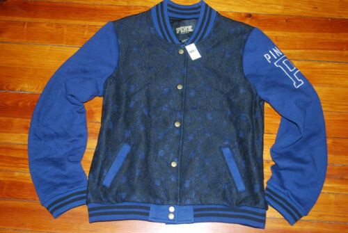 NEW Victoria/'s Secret VS PINK Blue Black Lace Varsity Jacket S, M, L /& XL