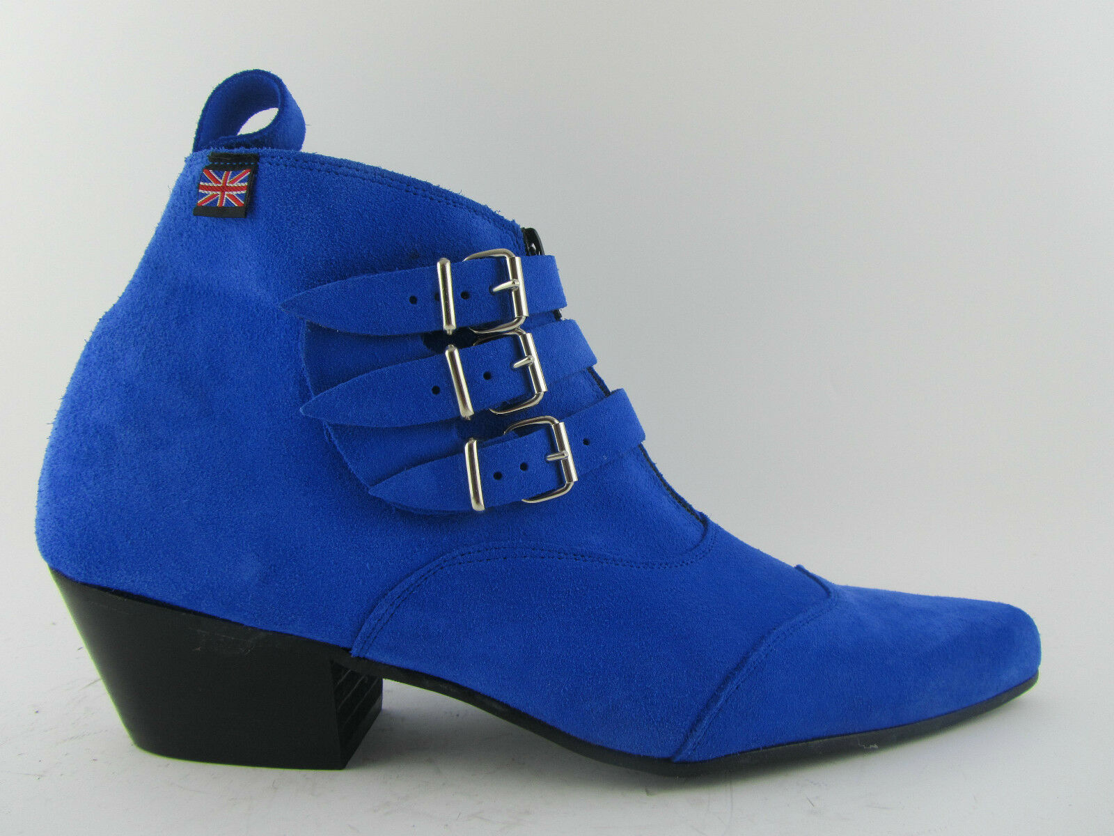 Retro  Uomo 3 Straps Stiefel Blau Suede Chelsea Beat Stiefel Straps Cuban Heel Beatle Pointed Toe 584b8b