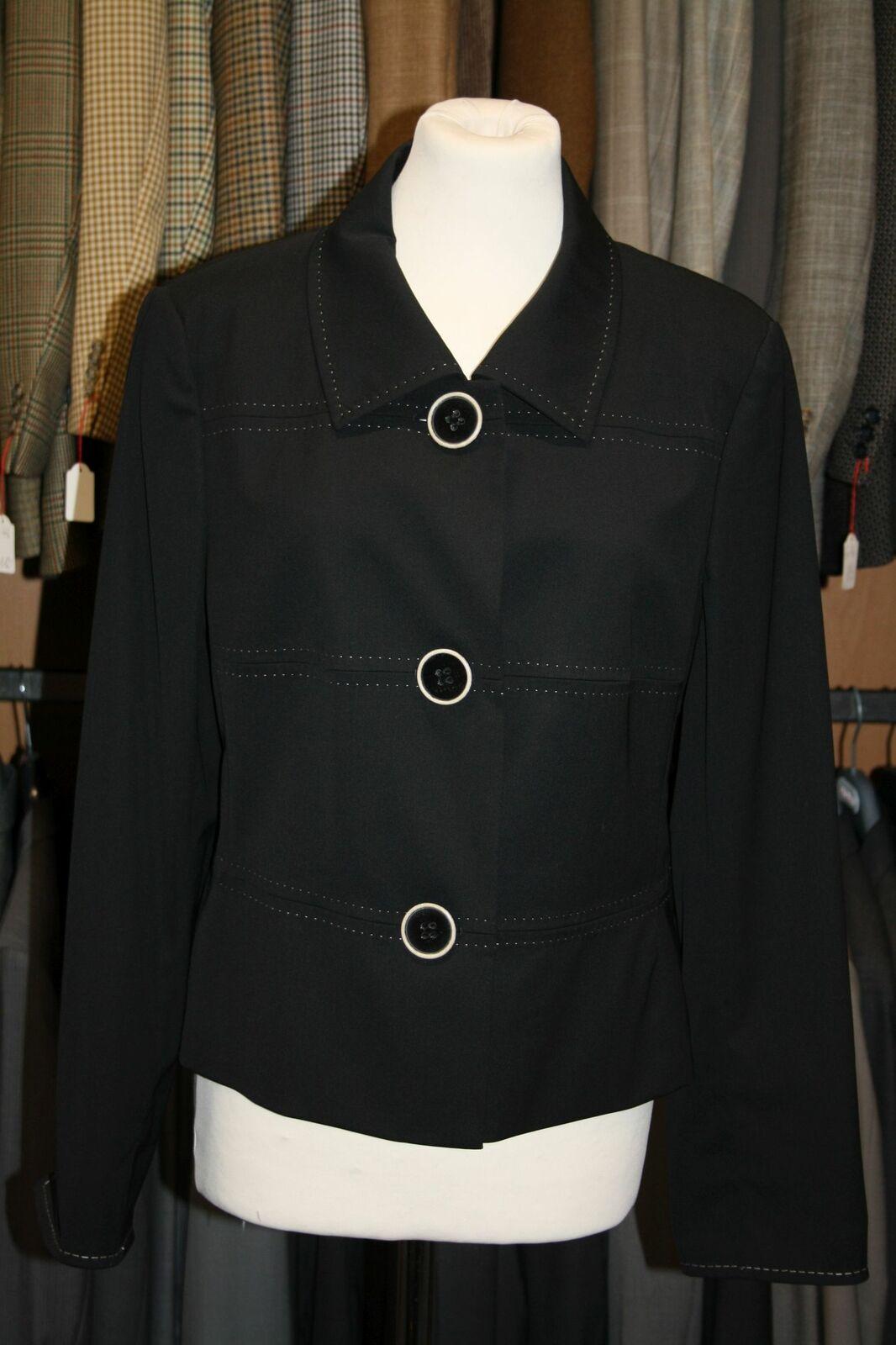 René LEZARD Blazer Womens Blazer Size 38 Black Plain Bearings with Wool #31
