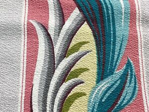 30s Miami Beach Flamingo Stripe Barkcloth Vintage Fabric Drape Curtain Art Deco