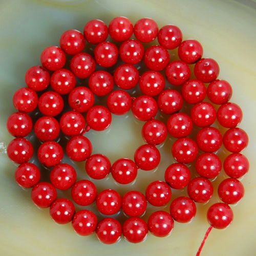 6/8/10/12/14mm Red Coral Color Round Shell Pearl Gemstone Loose Beads 15