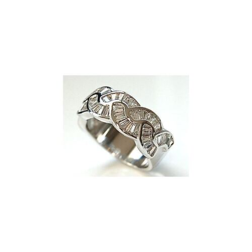 White Baguette Cut CZ 925 Silver Ring Wide Half Eternity Anniversary Band 6-10