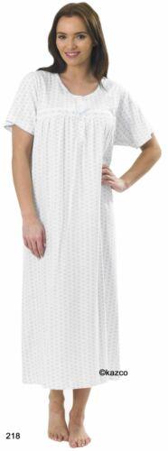 Button Through /& Normal Nightdress Short Sleeve 100/% Cotton Size 8-26 Nightie