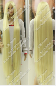 nwe wig cosplay wig150 cm center part bang long Pale gold hair
