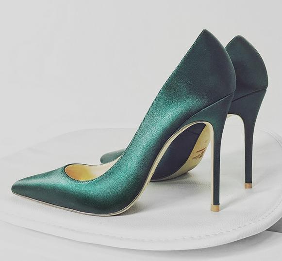 Donna Real Silk Satin Pointed Toe High Heels Bridal Stilettos Party Pumps scarpe