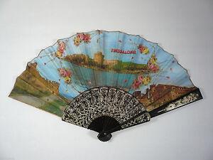 Vintage-Thessaloniki-Greece-Cloth-Hand-Fan-16-wide