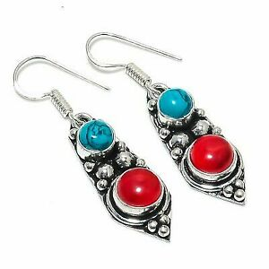 """Santa Rosa Turquoise, Coral Gemstone Ethnic 925 Sterling Silver Earring 1.77 """""""