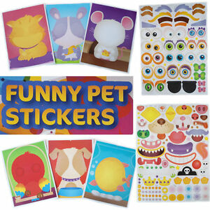 Kids-Sticker-Design-PET-Stick-Eye-Mouth-Animal-Fun-Activity-A4-Sheet-Cartoon-FUN