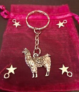 Image is loading LLAMA-Alpaca-TIBETAN-SILVER-Pendant-CHARM-Keyring-KEYCHAIN- 635e122c8