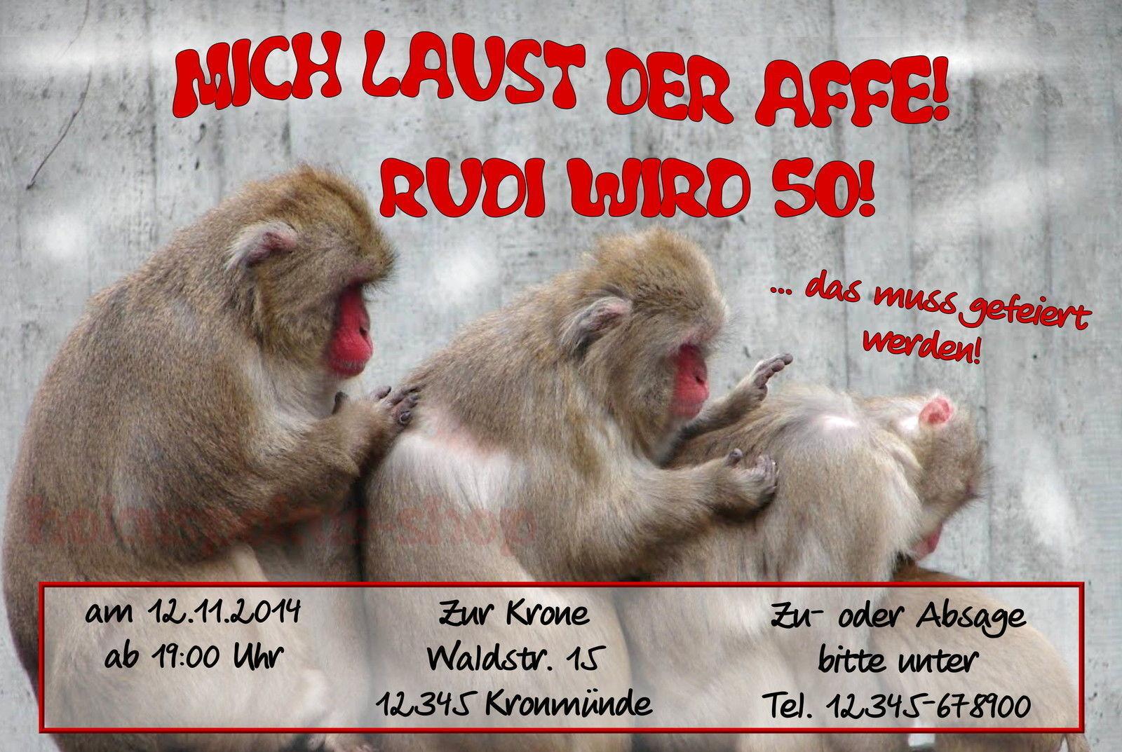 20 20 20 lustige Einladungskarten Geburtstag Einladungen mich laust der Affe Party   | Geeignet für Farbe  | Vielfältiges neues Design  63d665