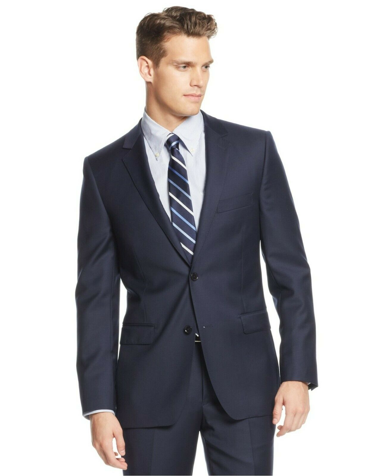 DKNY Slim Fit 42L Navy Solid Two Button 100% Wool NWT Men's Sport Coat GS750