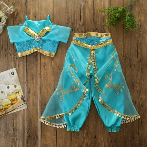 Halloween Princess Jasmine Dress for Girls Cosplay Party Outfits Aladdin Costume