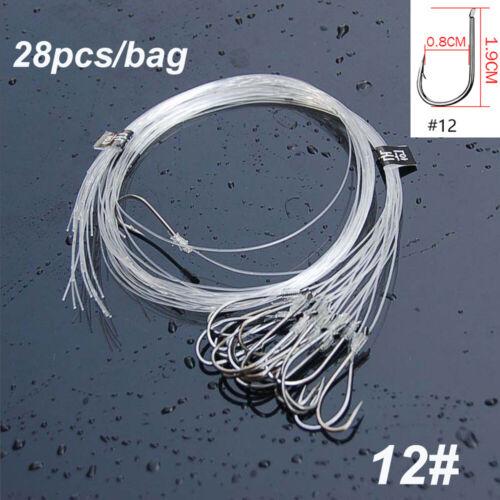 Head Carbon Steel Fishing Hook with Line Nylon fishing line Fishook Fish Bait