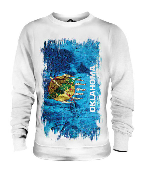 OKLAHOMA STATE GRUNGE FLAG UNISEX SWEATER TOP OKLAHOMAN SHIRT JERSEY GIFT