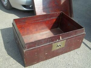 HUGE ANTIQUE LACQUERED JAPANESE WOODEN TRUNK BOX CHEST COFFEE TABLE STORAGE PROP