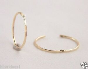 9ct GOLD 13mm SMALL FACETED HINGED HOOP SLEEPER EARRINGS PAIR B'day GIFT BOX NEW