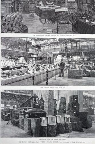 North Carolina Industry 1883 TURPENTINE IRON COTTON SILK Matted Engraving Print