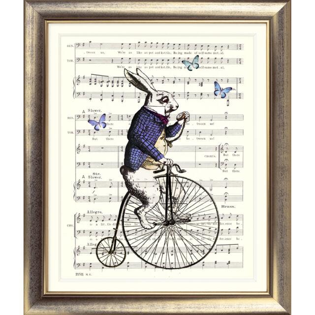 ART PRINT ORIGINAL VINTAGE MUSIC SHEET Page White Rabbit ALICE IN WONDERLAND Old