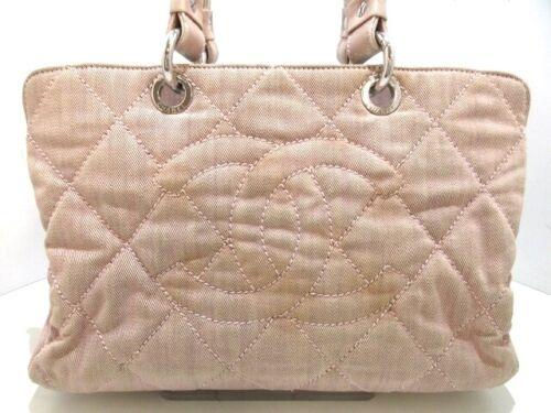 Auth CHANEL Pink Denim & Leather Handbag