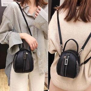 Convertible-Faux-Leather-Rhinestone-Small-Mini-Backpack-Shoulder-bag-Purse-Rivet