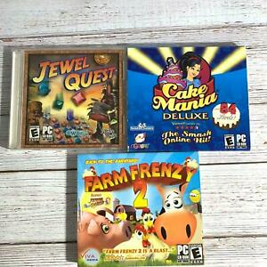 Nice Lot of 3 Games Jewel Quest Farm Frenzy 2 Cake Mania Deluxe CDROM Windows