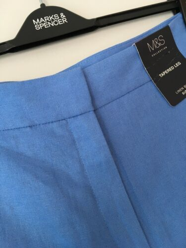 LADIES M/&S SIZES 8 OR 18 MEDIUM BLUE TAPERED LEG LINEN BLEND TROUSERS FREE POST