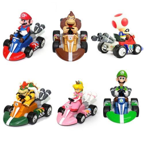 6Pcs Super Mario Kart Luigi PVC Figura Four Wheels Pull Back Auto Bambola Toy