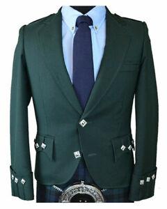 Scottish-Green-Argyle-Kilt-Jacket-100-Wool-Custom-Made-Highland-Men-039-s-Jacket