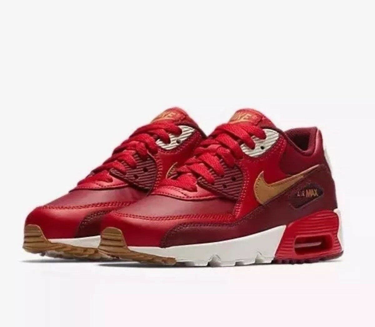 NIKE AIR MAX 90 ESSENTIAL 537384 607 GAME RED ELEMENT gold TEAM RED