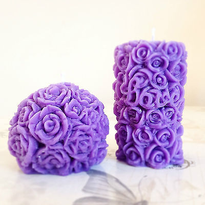 A Pair of Rose Candles Unscented and Hand Made With Soy Wax One Ball One Pillar