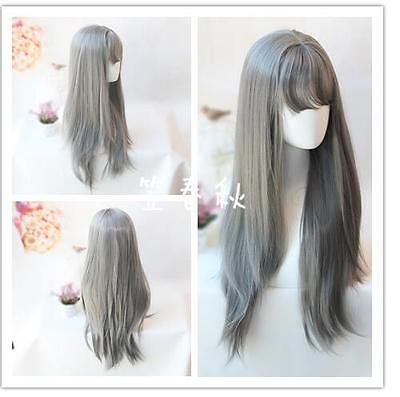 Harajuku wig lolita air bang grandma ash dark grey sets of long straight wigs