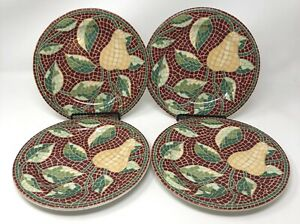 Set-of-4-PIER-1-MOSAIC-FRUIT-Pear-with-Leaves-Salad-Dessert-Plates-8-25