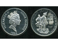COOK ISLANDS , james  COOK , 10 DOLLAR ARGENT 1994 PROOF , FLEUR DE COIN