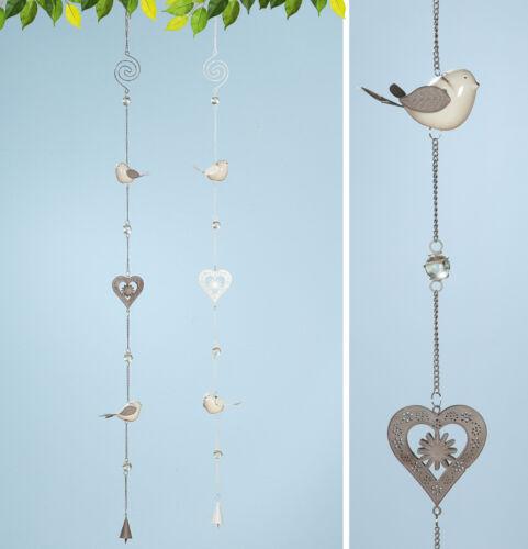 Fensterdeko Frühling 1 x Girlande Birdy m Herzen Metall Höhe 150 cm Vogel