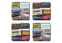 Personalized Coasters Featuring The Name Adam In Photos Of Signs - Set Of 4