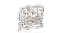 Ross-simons Italian Sterling Silver Openwork Swirl Thin Ring Size 9 With Box
