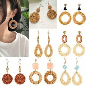 Women-Straw-Rattan-Woven-Geometric-Earrings-Drop-Dangle-Jewelry-Summer-Party
