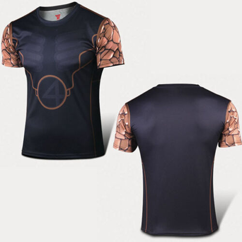 Herren Marvel Shirt Sport T-Shirt Superhelden Slim Kompression Jersey Kostüm Top