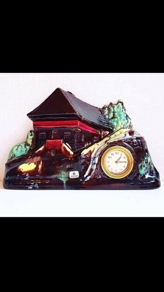 Smukt ældre keramik kamin-ur , Alfred Klein 1960'erne
