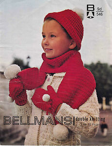 Knitting Pattern Childrens Hat Scarf And Gloves In Dk Wool Fits 2