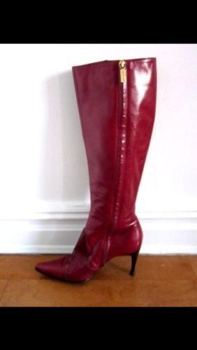 830 Sergio Rossi Bordeaux Leather Zip Tall Boots- Sz 37 7- Worn Once  Perfect