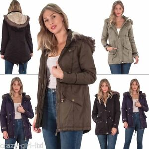0c87d6f909 Womens Hooded Jacket Ladies Fur Parka Long Sleeve Winter Coat Two ...