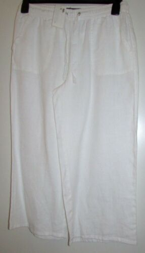 NEW LADIES WHITE PURE LINEN TROUSERS CROPPED MARKS /& SPENCER COLLECTION