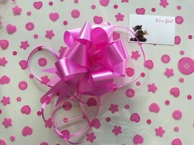 Cellophane gift wrap 2m x 80 cm-Pink Spots Baby Shower Girl FREE PULL BOW /& CARD
