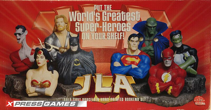 Liga De La Justicia De América fundido de porcelana mano pintada frío sujetalibros Conjunto DC Direct