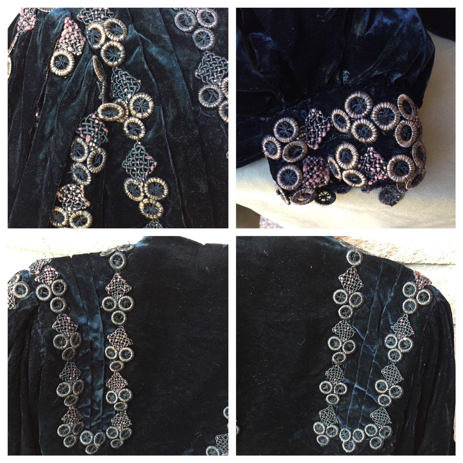 Antique 1890s Victorian Shirt Bodice Midnight Blu… - image 9