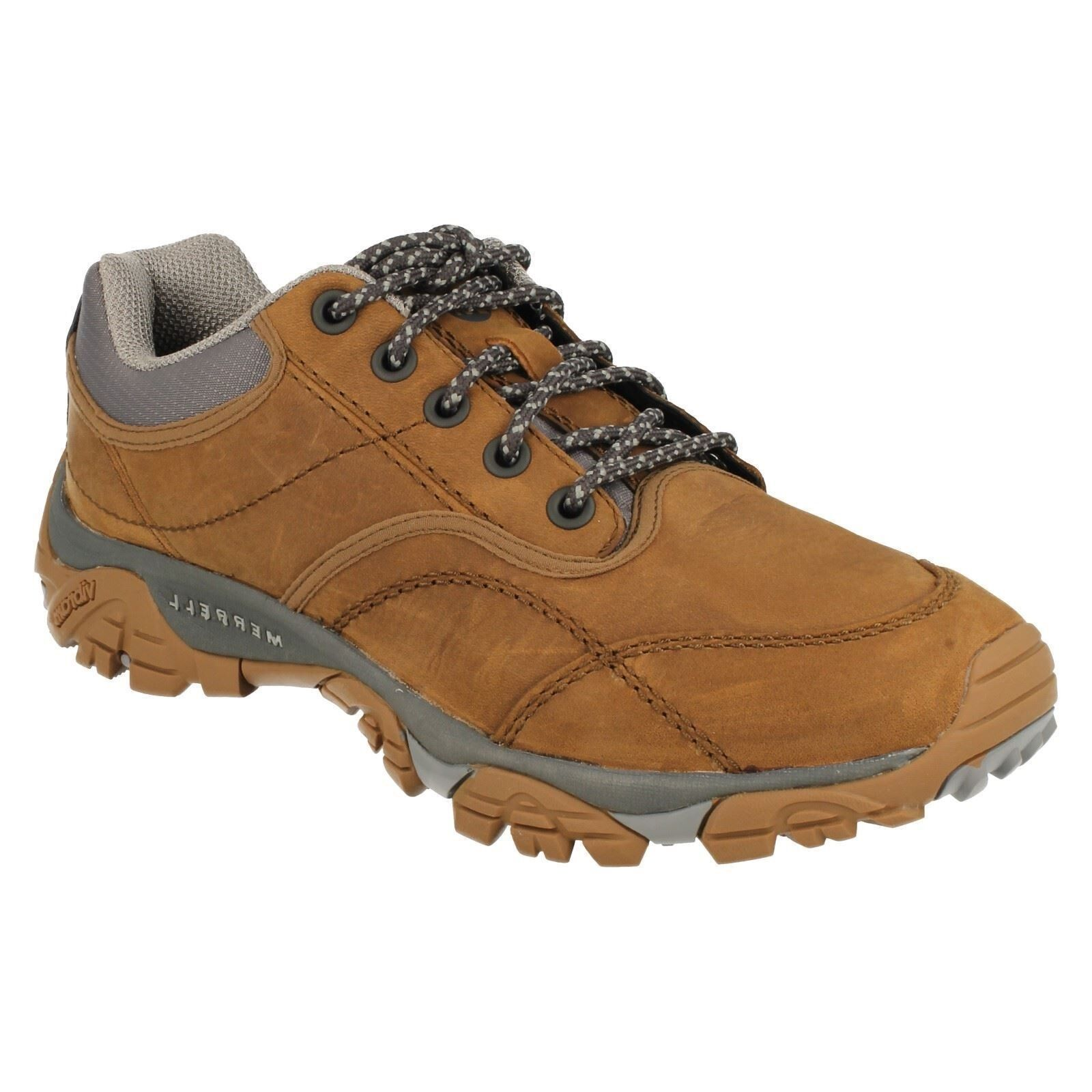 hommes MERRELL LACE UP BROWN LEATHER WALKING HIKING CASUAL Chaussures MOAB ROVER