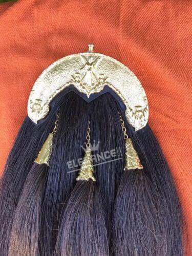 New Original Black Horse Hair Sporran Gold Cantle//Bagpipe Piper Kilt Sporrans