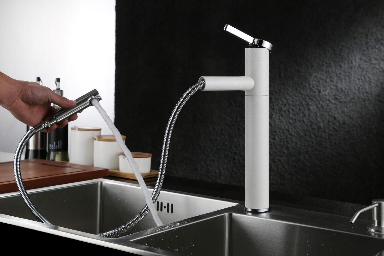 Granit Küchen Armatur mit herausziehbarer Handbrause Einhand Mischer in Weiß